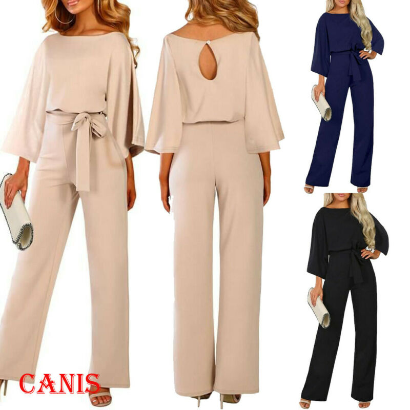 New Women's Jumpsuit Elegant High Waist Lace Up Jumpsuit OL Romper Evening Party Ball Wide Leg Playsuit  Woman Clothes Clubwear