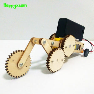 Happyxuan Electric Gears Car Kids DIY Science Project Toys Technology Fun Physics Experiment Kits STEM Education Gift