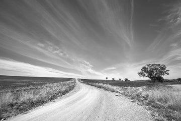 'Big Sky' Dusty Road Black & White Photographic Print