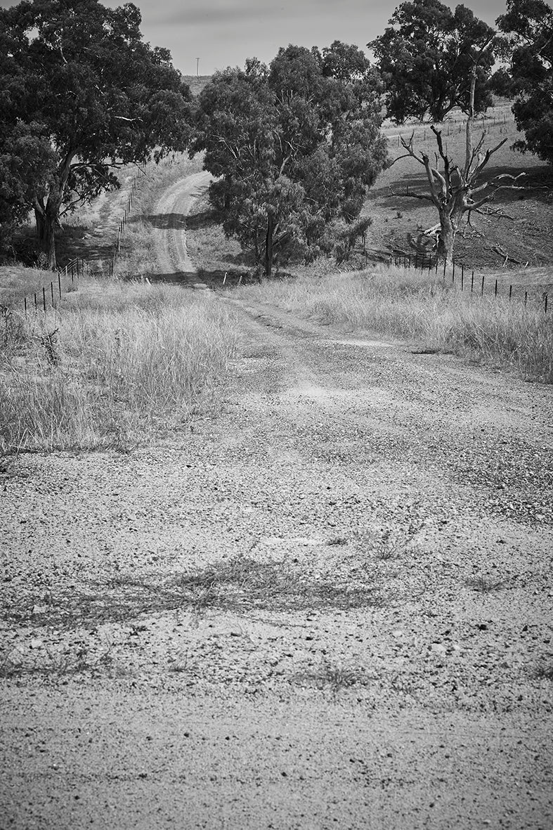 'Down And To The Right' Dusty Road Black & White Photographic Print