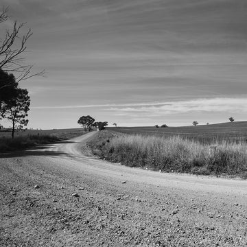 'Round The Bend' Dusty Road Black & White Photographic Print