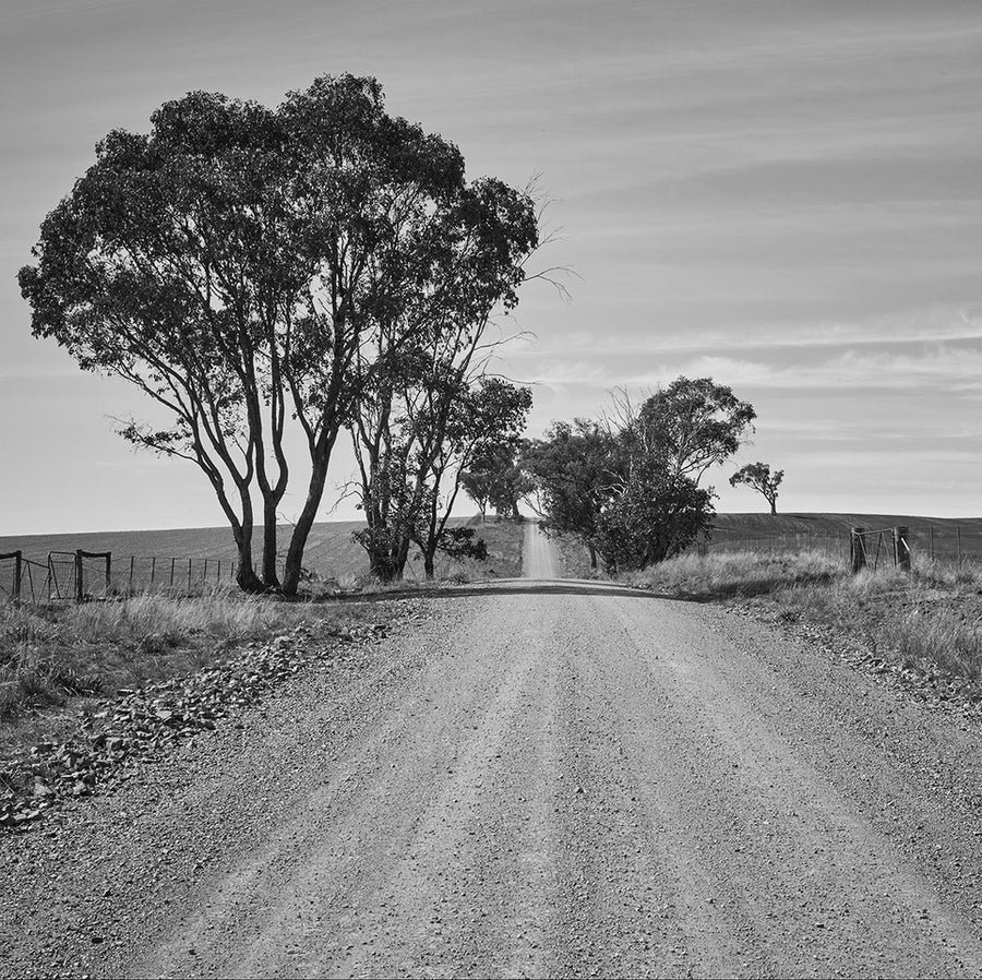 'Straight Ahead' Dusty Road Black & White Photographic Print