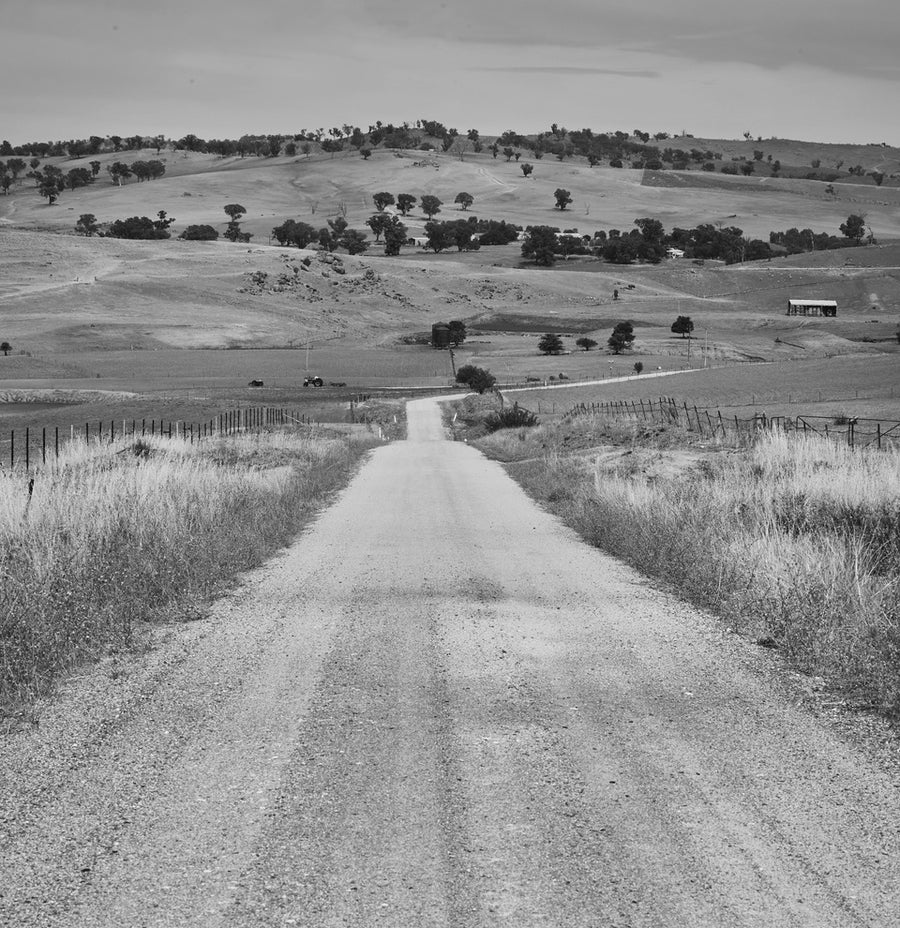 'The Long Track' Dusty Road Black & White Photographic Print