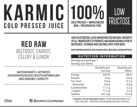 Information on Red Raw Juice