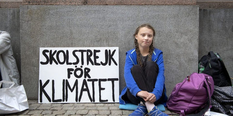 Greta Thunberg in front of Swedish Parliament