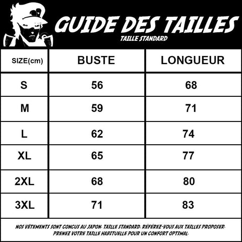 guide des taille standard sweat