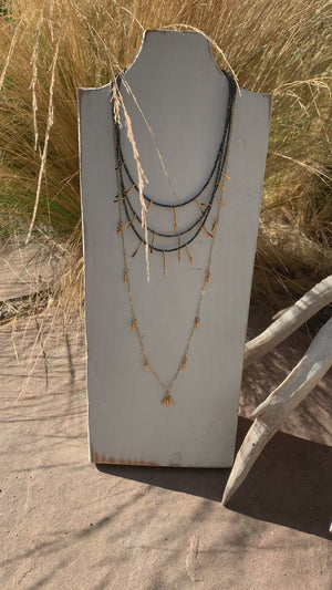 Load and play video in Gallery viewer, Gold spike + paper clip chain long necklace