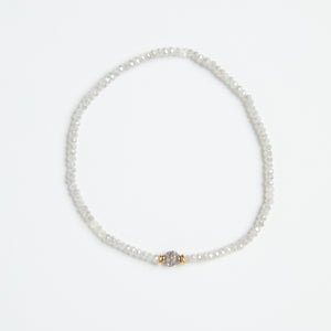 pave diamond bead + micro crystals stretch bracelet