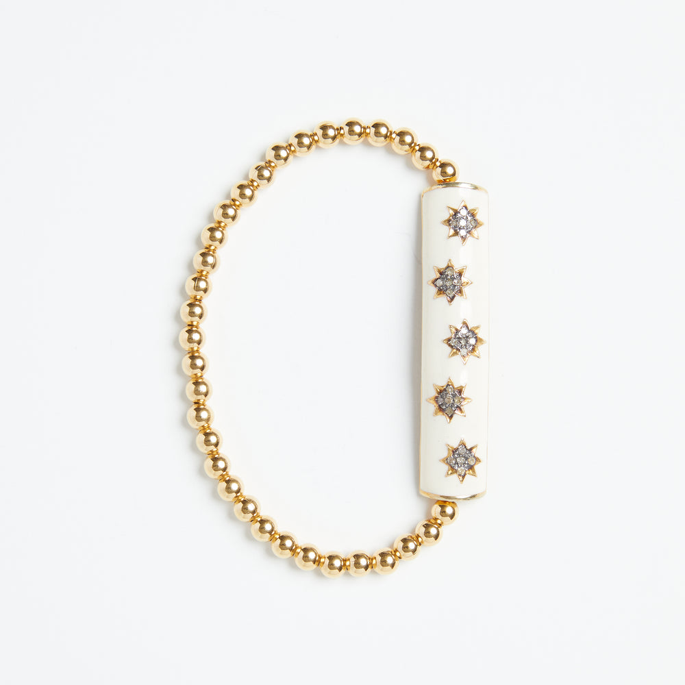 Load image into Gallery viewer, oxidized pave star enamel bar bracelet in gold