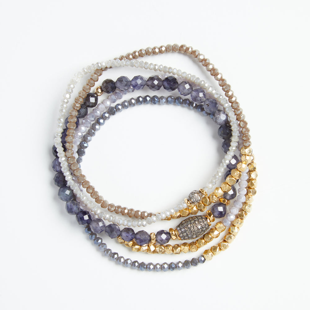 gold nugget + crystal bracelet in oyster