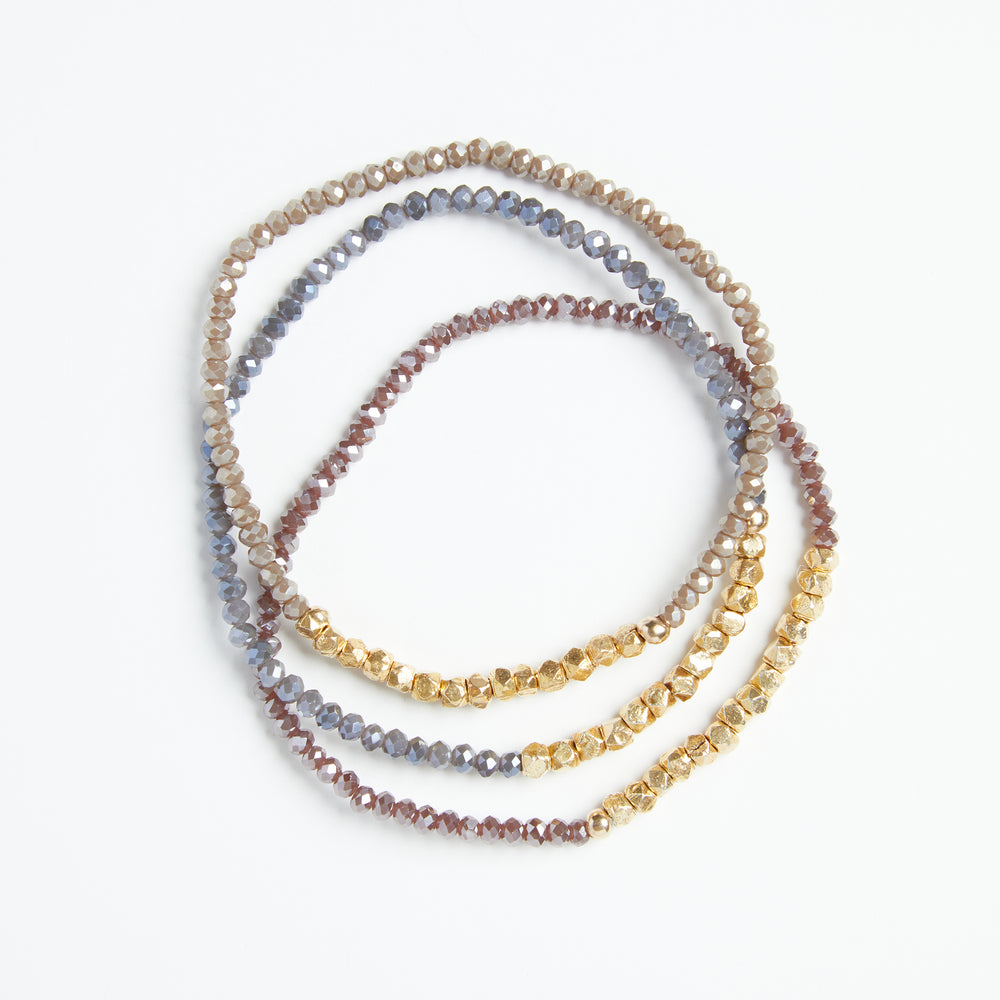 Load image into Gallery viewer, gold + dusty rose crystal bracelet