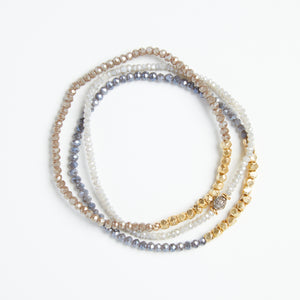 Load image into Gallery viewer, gold + lilac stone crystal bracelet