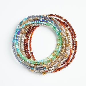 triple wrap bracelet/necklace in semi precious stones- greens/blues