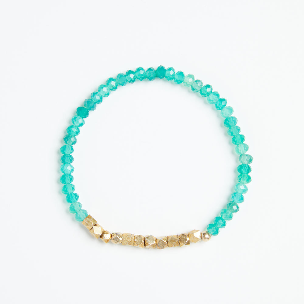 Load image into Gallery viewer, green onyx + gold nugget bracelet