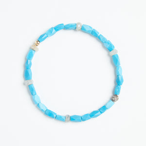 Load image into Gallery viewer, turquoise + white sapphire + pave diamond bracelet