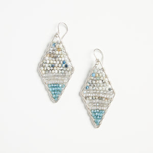 silver diamond shape turq + agate earrings