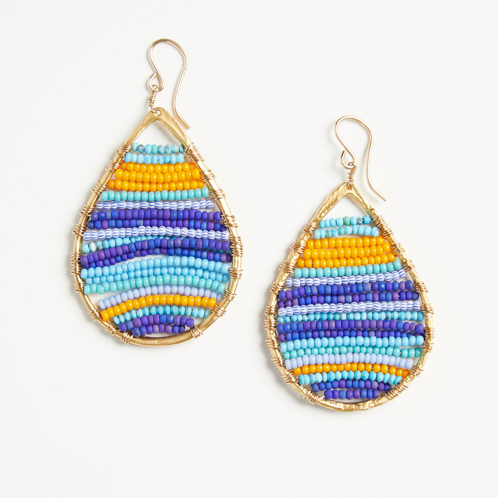 gold teardrops multicolor earrings