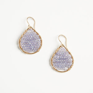 gold teardrops in light purple amethyst