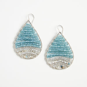 silver teardops in lake blue, medium