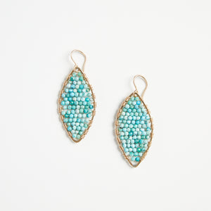 gold marquis earrings in amazonite
