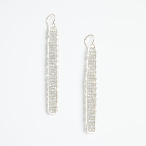 Load image into Gallery viewer, silver stick earrings in moon grey