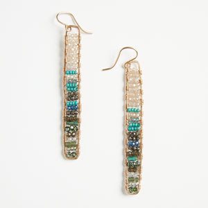 gold stick earrings in seasalt + turquoise