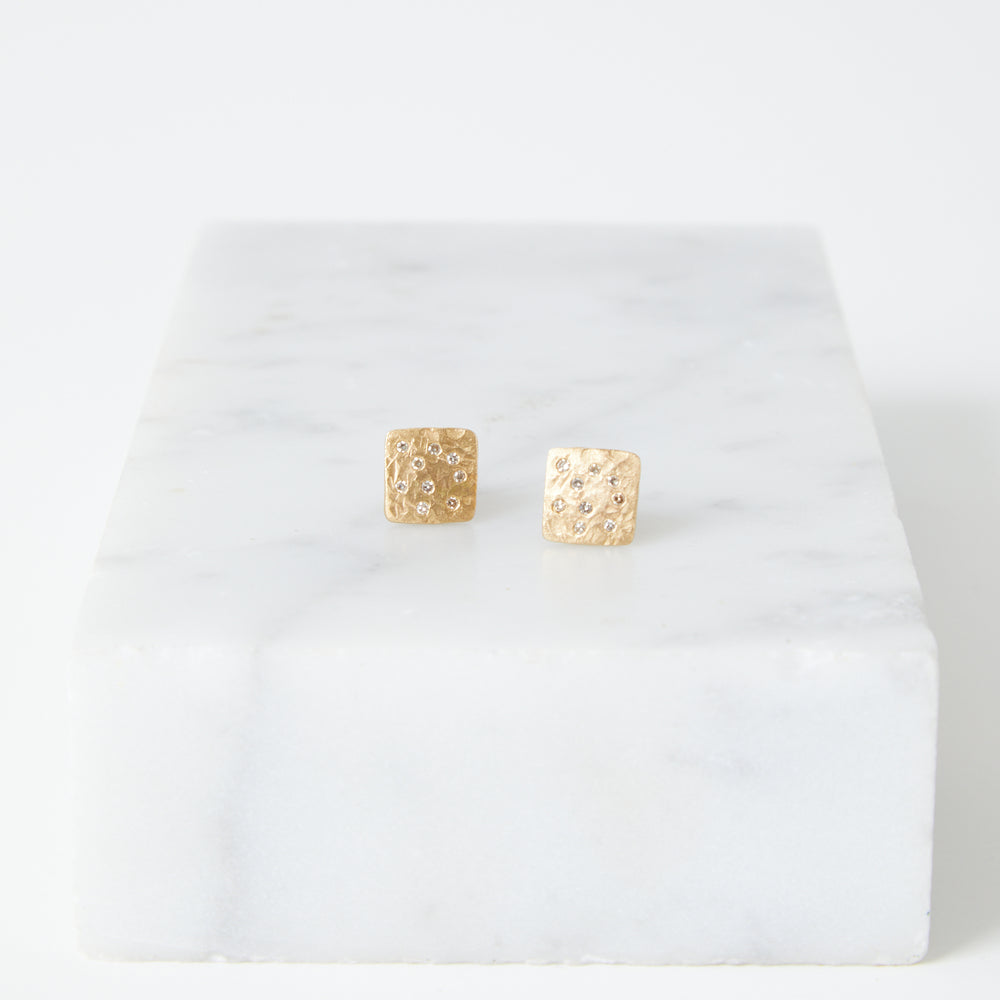 14k gold square studs with diamonds