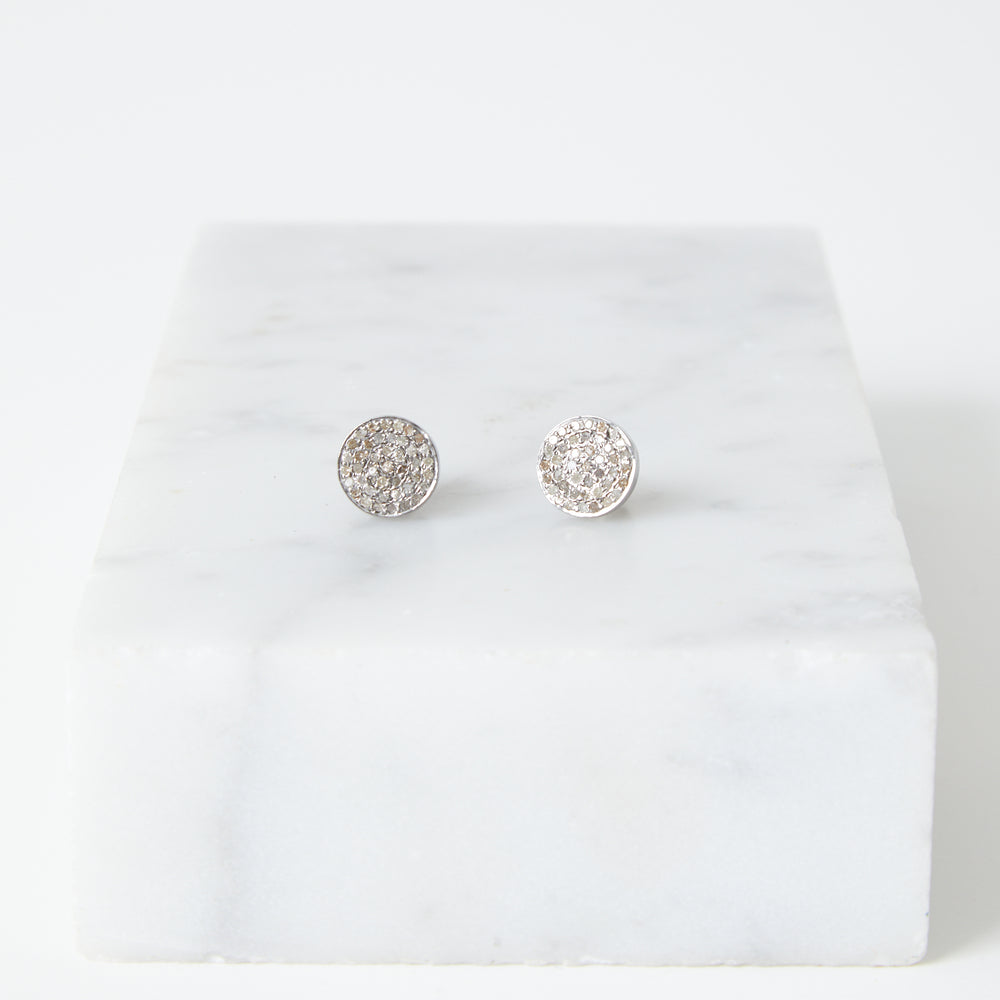 pave diamond silver dot earrings