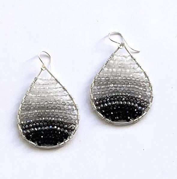 Load image into Gallery viewer, silver teardrops + white to black ombre