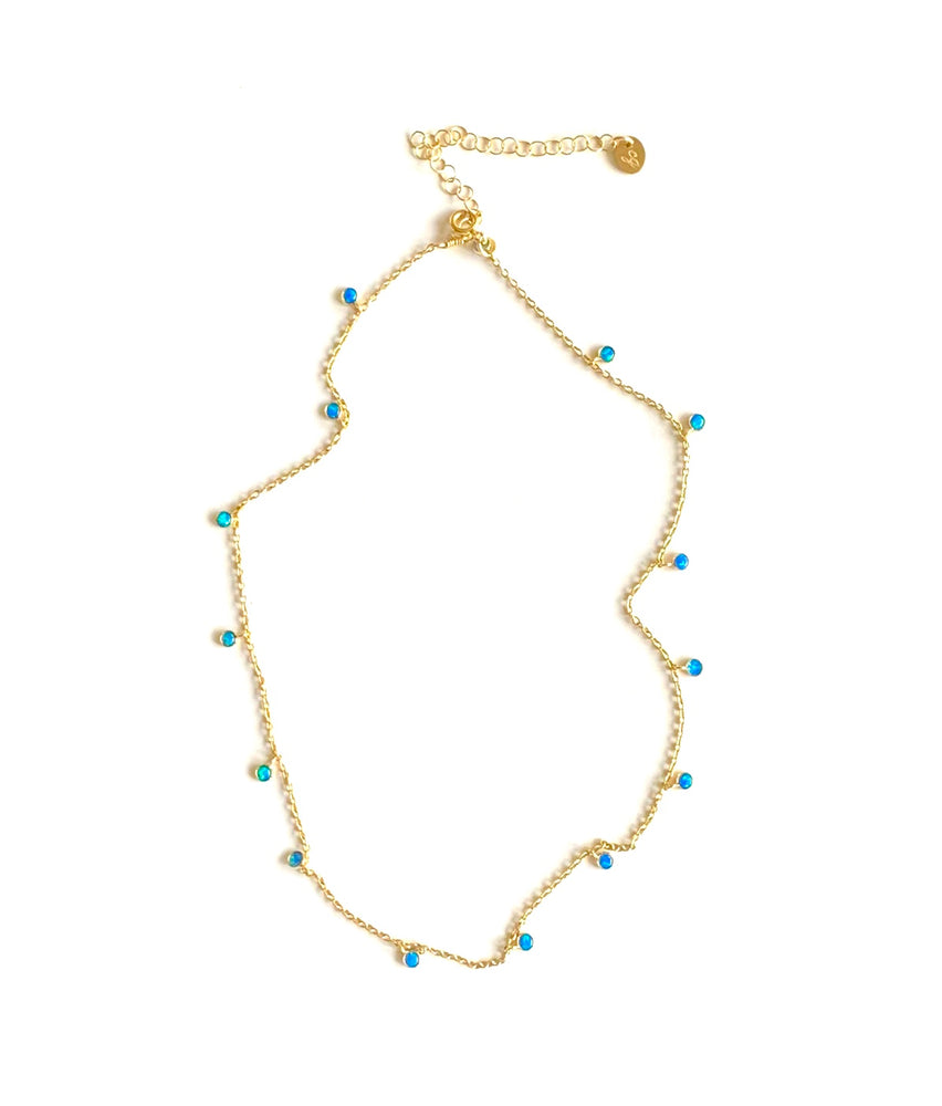 gold + opal drops necklace