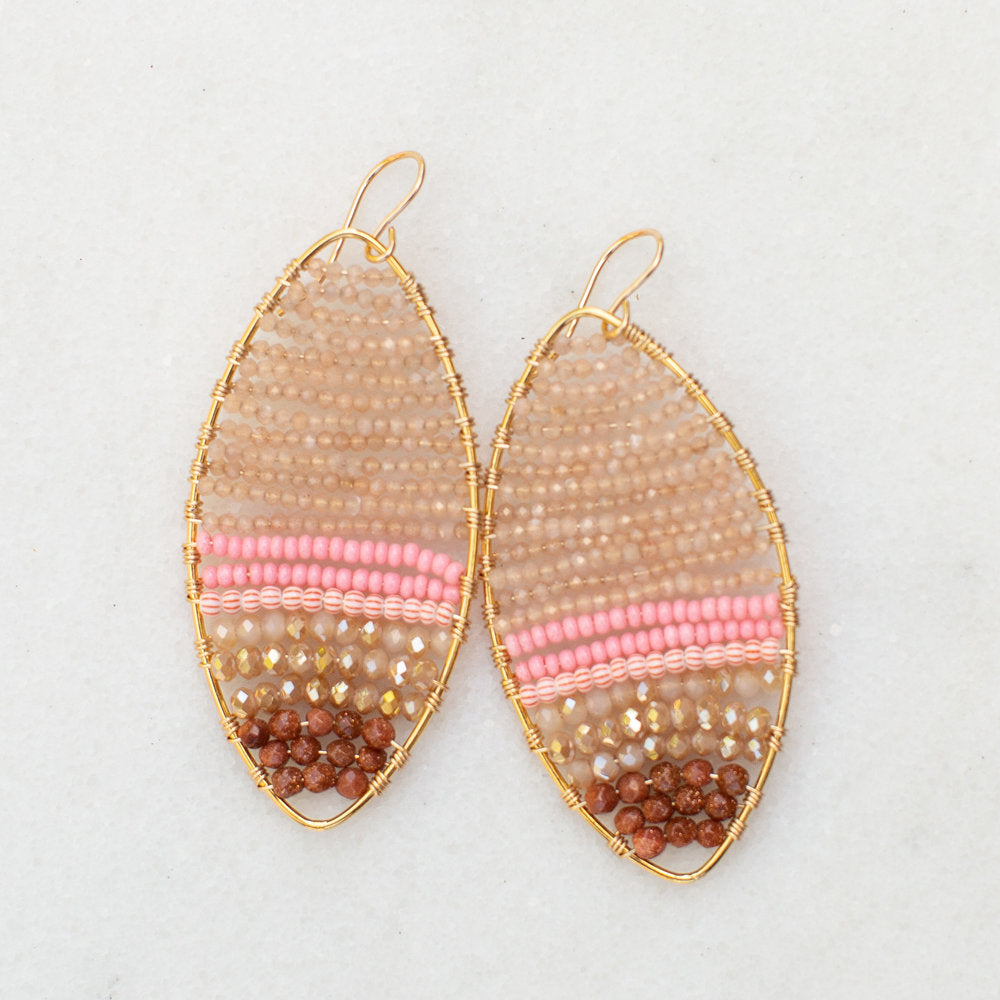 gold marquis earrings with peach moonstone, large