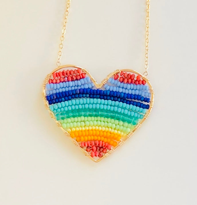 CH x CG rainbow heart necklace in gold