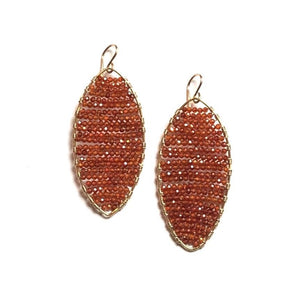 Load image into Gallery viewer, gold marquis earrings w/ carnelian, large