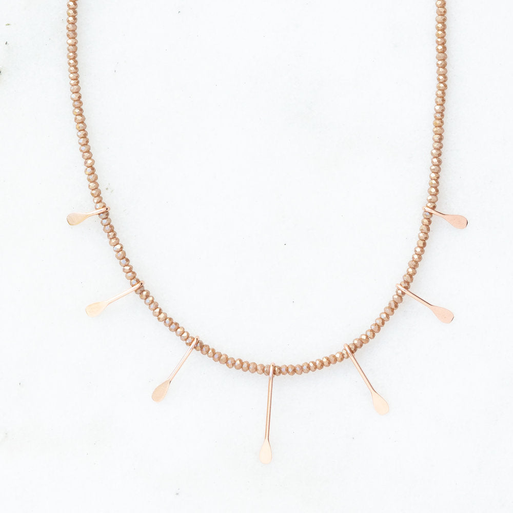 rose gold paddle necklace in rosewood