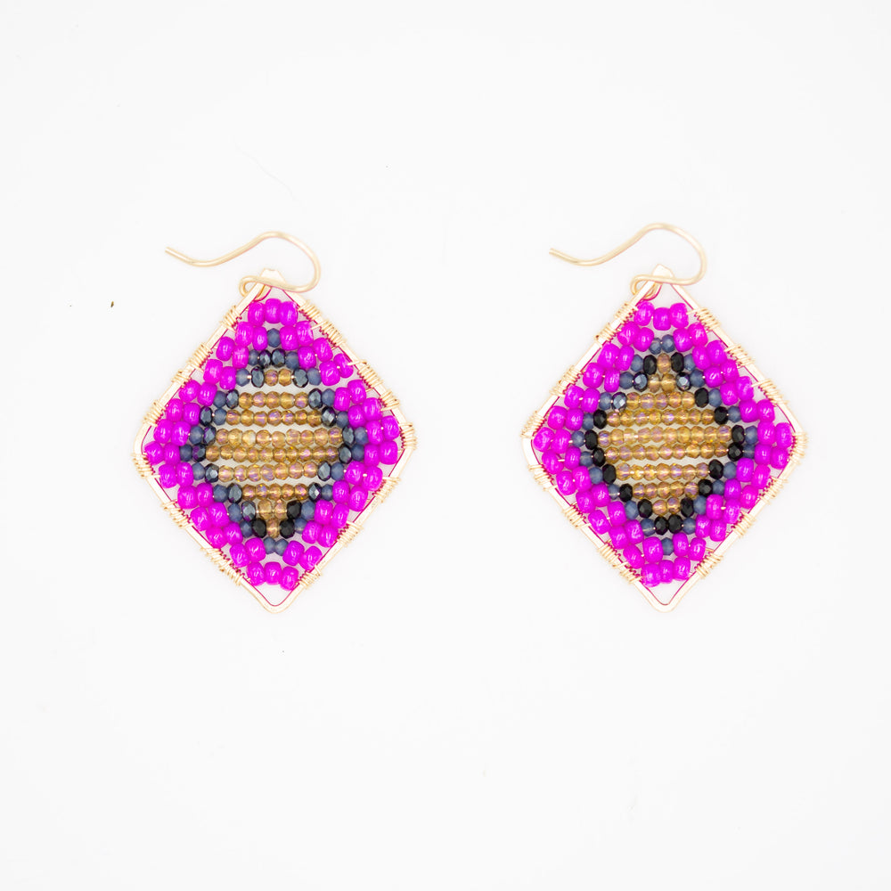 Gold diamond shape earrings in azalea pink