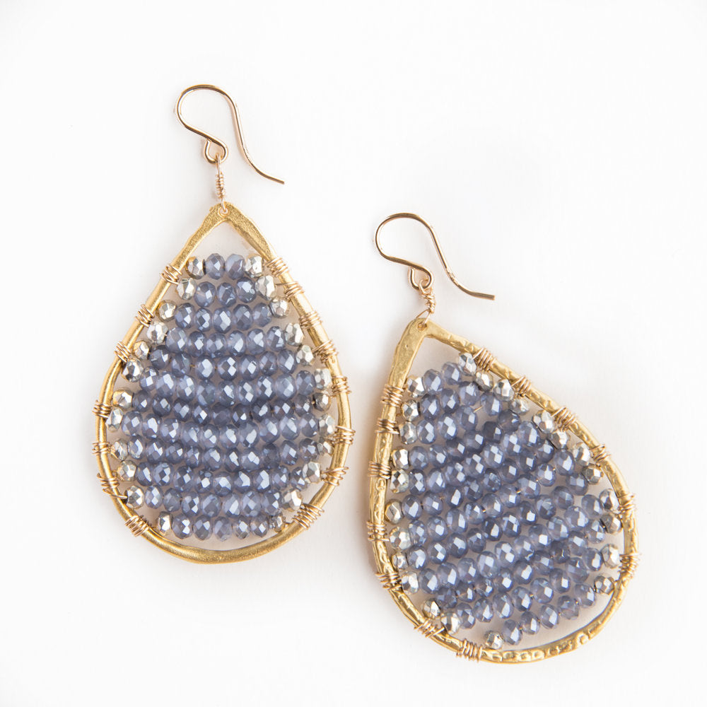 gold teardrops in stormy blue + silver