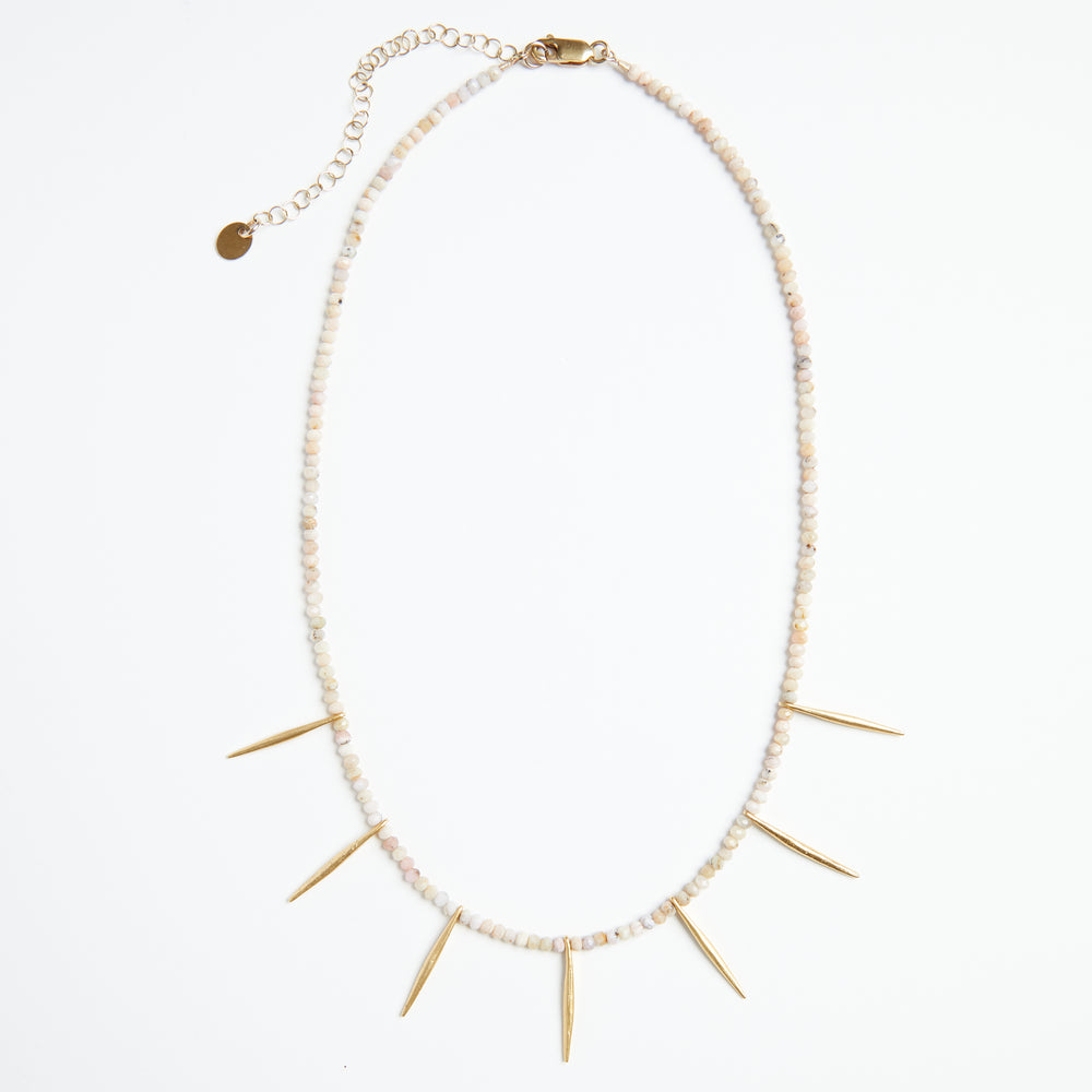 peach moonstone w/gold spikes necklace