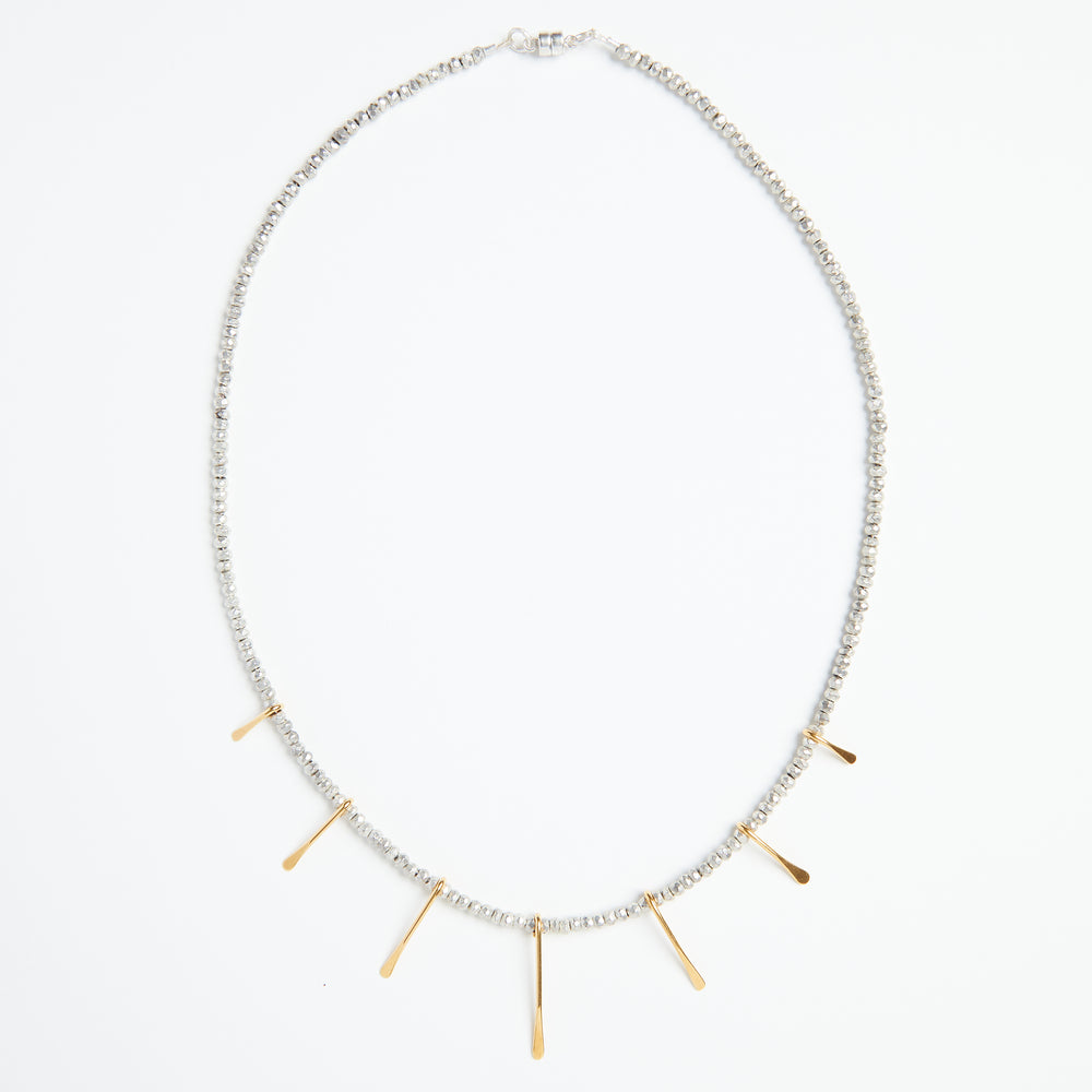 Silver pyrite + gold paddle necklace