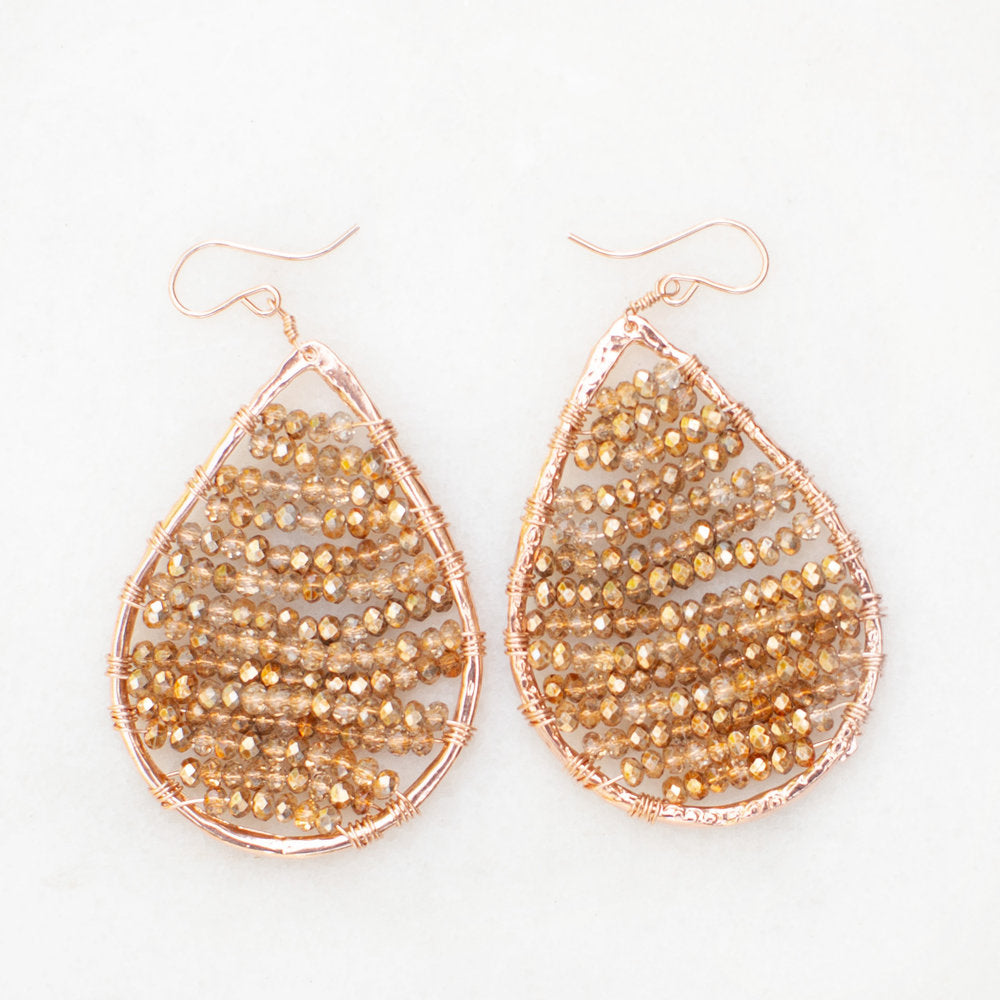 rose gold teardrops + crystals