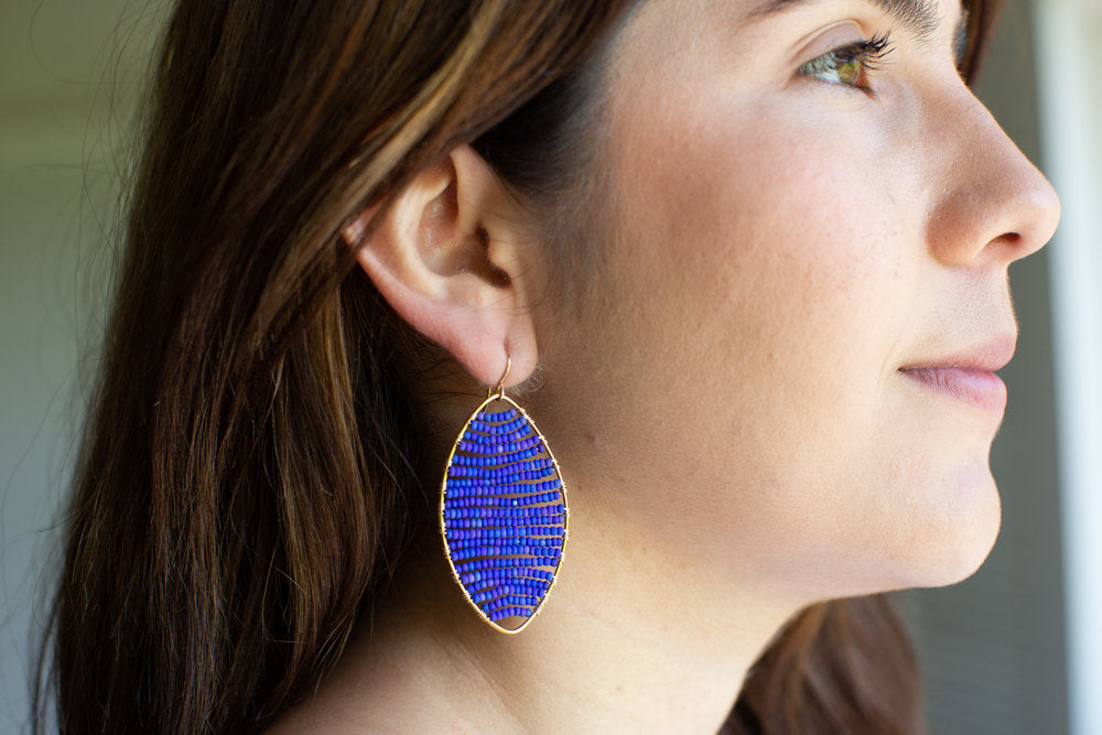 Load image into Gallery viewer, gold marquis earrings in lapis, large