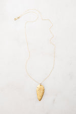 14k gold + diamond leaf necklace, large