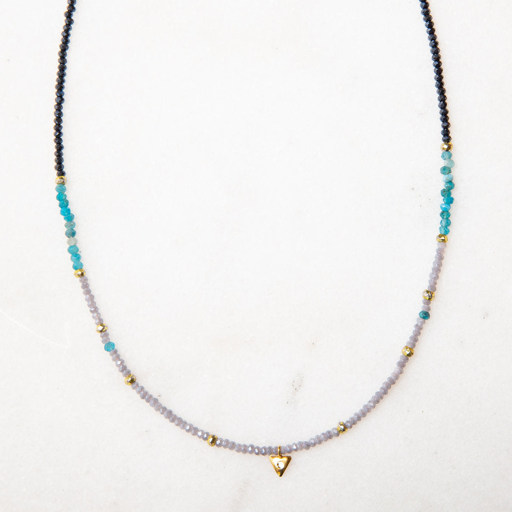 turquoise, blues, gold and diamond slice necklace