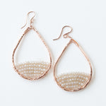 rose gold teardrops in sea salt earrings, medium
