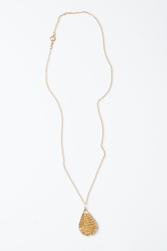 Golden Abacus Teardrop Necklace