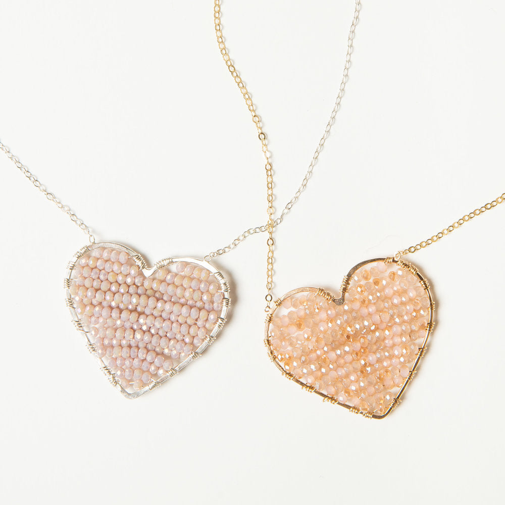 CH x CG luminous love heart necklace in gold