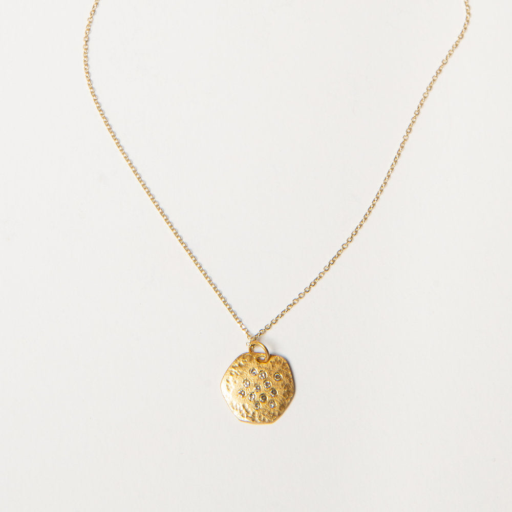 14k gold + diamond hexagon necklace, small