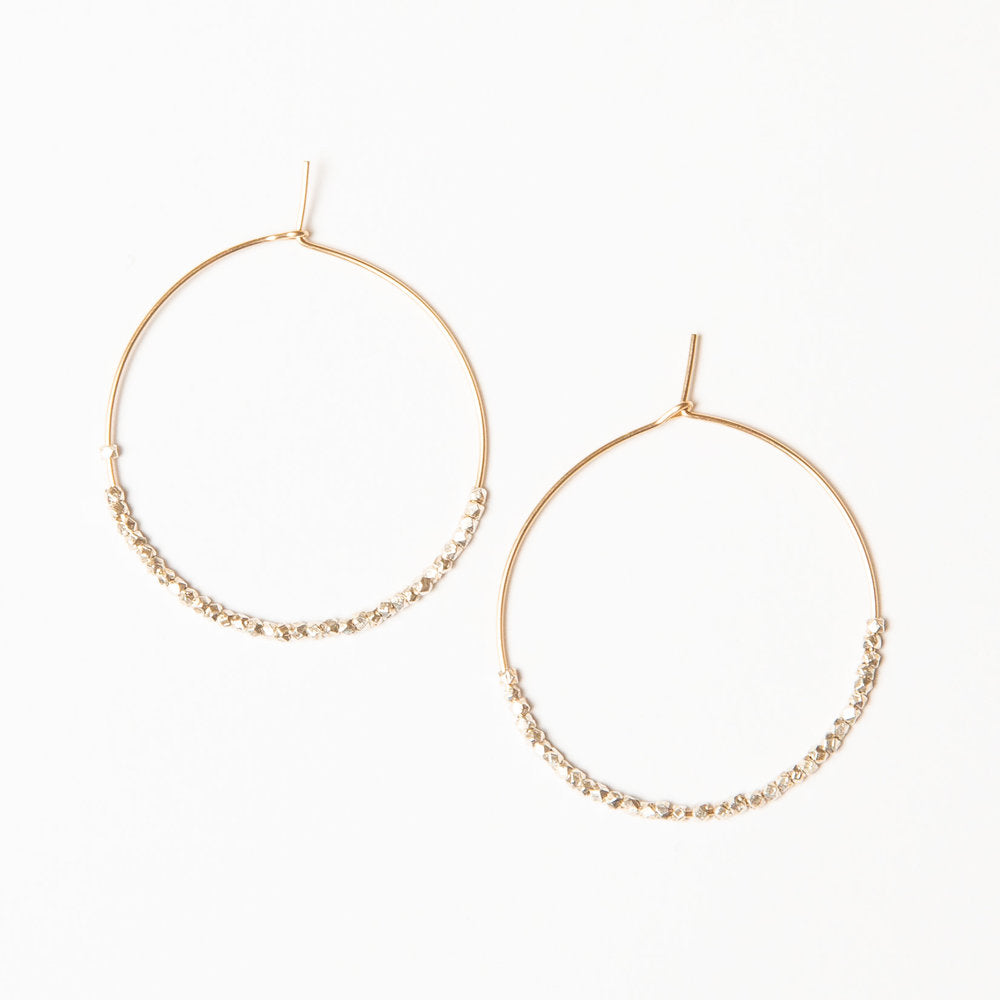 Load image into Gallery viewer, silver + gold beaded gold hoops, medium