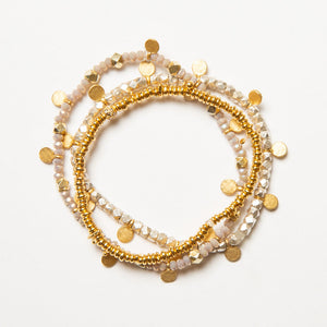 Load image into Gallery viewer, gold + crystal beaded bracelet w/gold disks