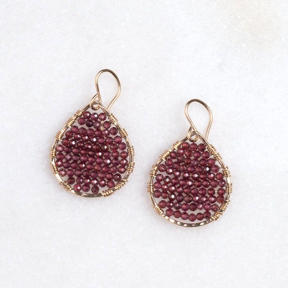 Load image into Gallery viewer, gold teardrops + garnets, small