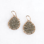 gold teardrops + olive crystals, small